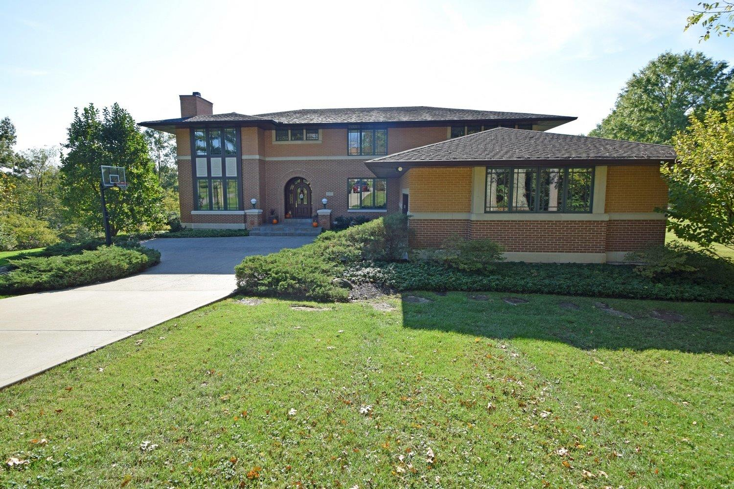 ABSOLUTE GEM! Frank Lloyd Wright Inspired w/River View! Custom Built w/Impeccable Attention to Detail! Dramatic & Tasteful! Open Floor Plan w/Two Story Great Room! Beautiful Kitchen! Sprawling LL w/Large Family Room, 2 additional Bedrooms, Full Bath, Workout Room & Walkout to Professionally Landscaped Yard w/Heated Gunite Pool w/Automatic Cover!