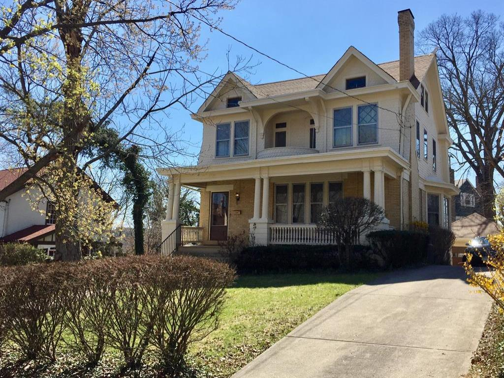 First opportunity in 50 years to own this warm & inviting home. Tree lined, gas-lit, architecturally rich neighborhood. Functional balcony connects Bed 1 & 2!  Double staircase, gorgeous coffered dining room ceilings, mint hardwood flrs thru-out, built-ins. Bright & sunny kitchen w/office nook. 3rd flr could be neat loft! Needs repairs.
