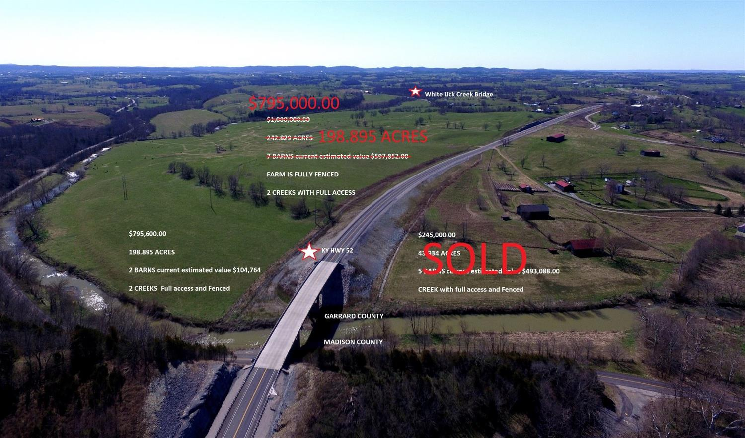$795,600.00%20198.895%20ACRES,%202%20BARNS%20valued%20at%20$104,764.00,%20FENCED,%202%20CREEKS%20FULL%20ACCESS!%20%20Will%20subdivide!