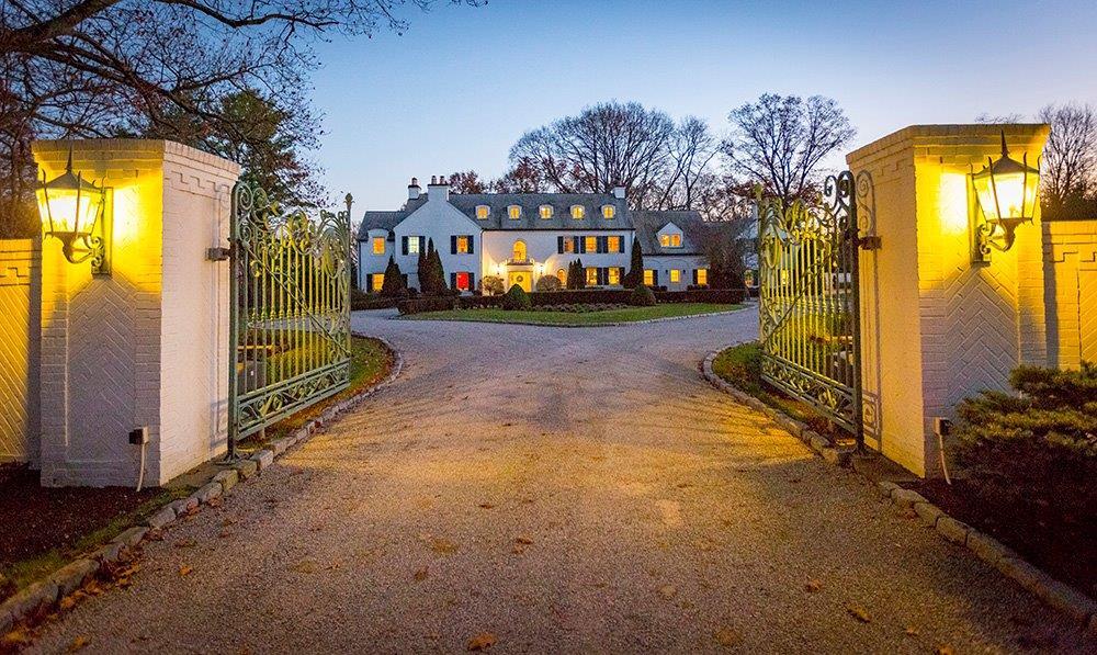 Village Landmark! 1925 estate- a gem - 7.7 acres, gourmet kitchen, signature living/dining rm - family rm - solarium - master suite - 3 levels - exquisite gardens & grounds - pool - 3 car garage.