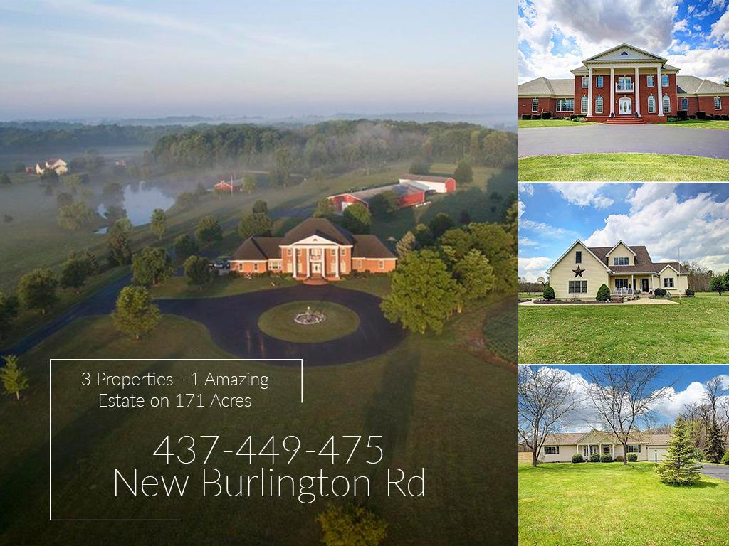 3 Properties - One AMAZING Estate! 171+ wooded and farmable acres between Cincinnati, Columbus and Dayton.  Three distinct homes lovingly built for 3 generations.  Stocked pond, hunting blinds, shooting range along with multiple outbuildings. Would make a perfect horse farm!  Dimensions here are for main house.