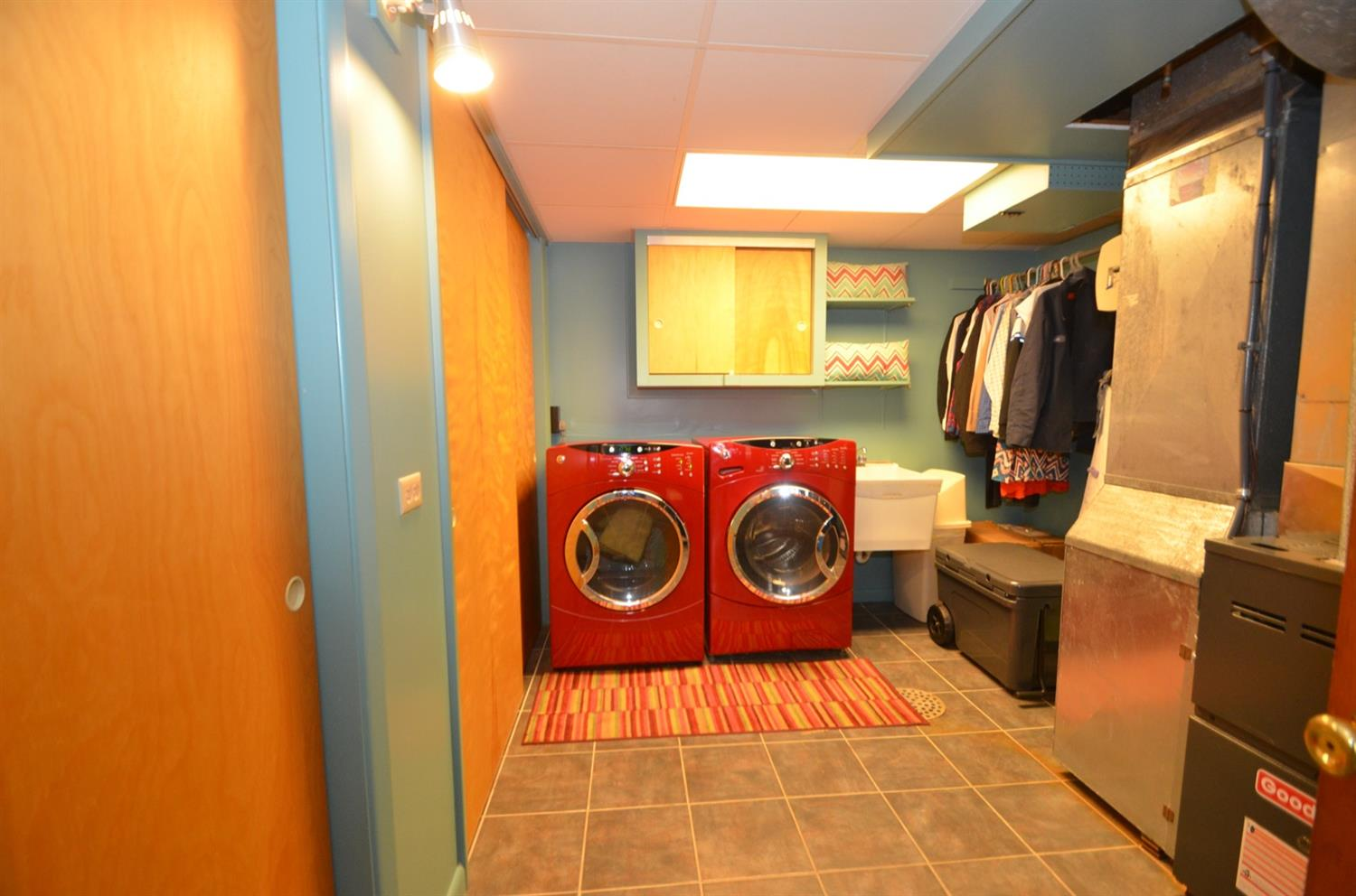 Fabulous laundry room with LARGE CLOSETS, wash tub, and more storage!  Washer and Dryer included!