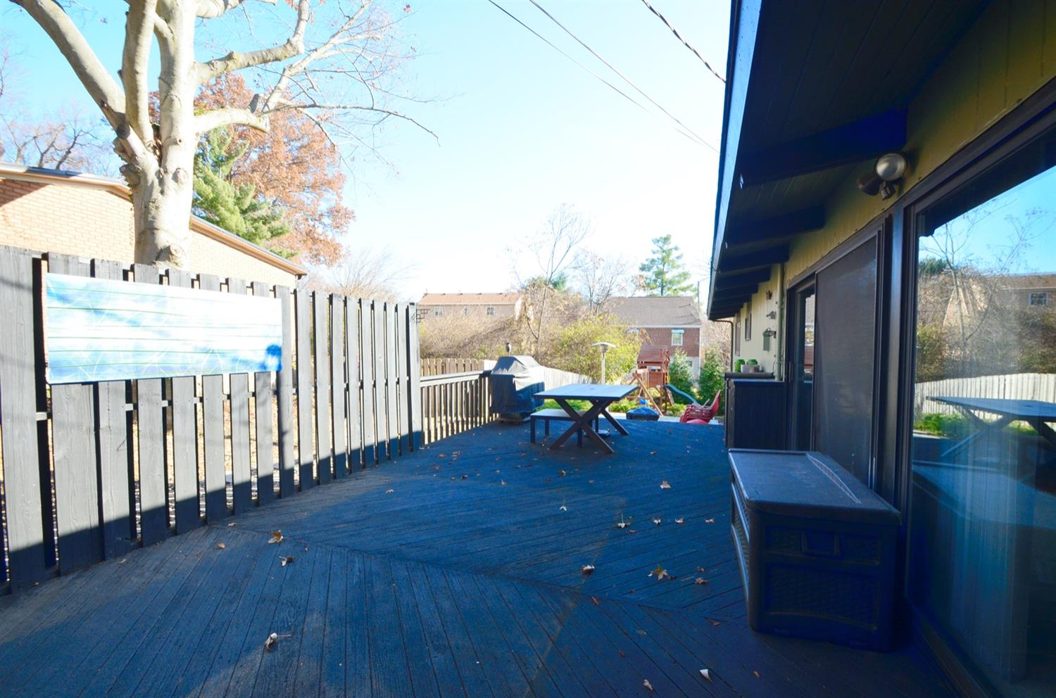 Deck right off of the dining room and kitchen is private and spacious.