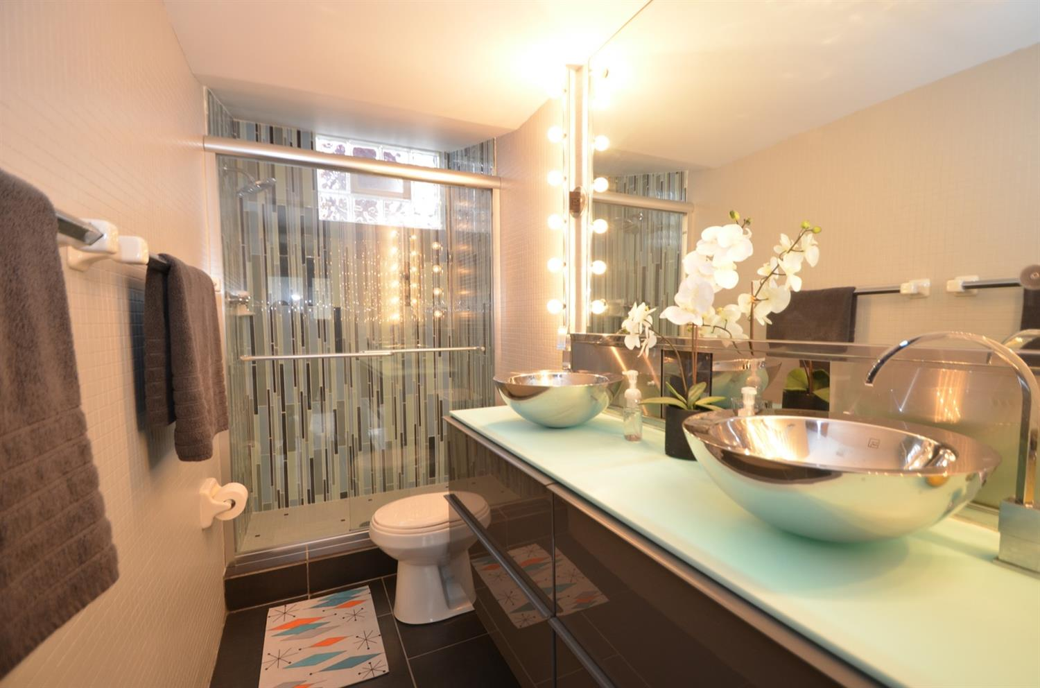 3rd FULL BATH is another blend of vintage and new.  It also has a double vanity and lots and lots of storage!