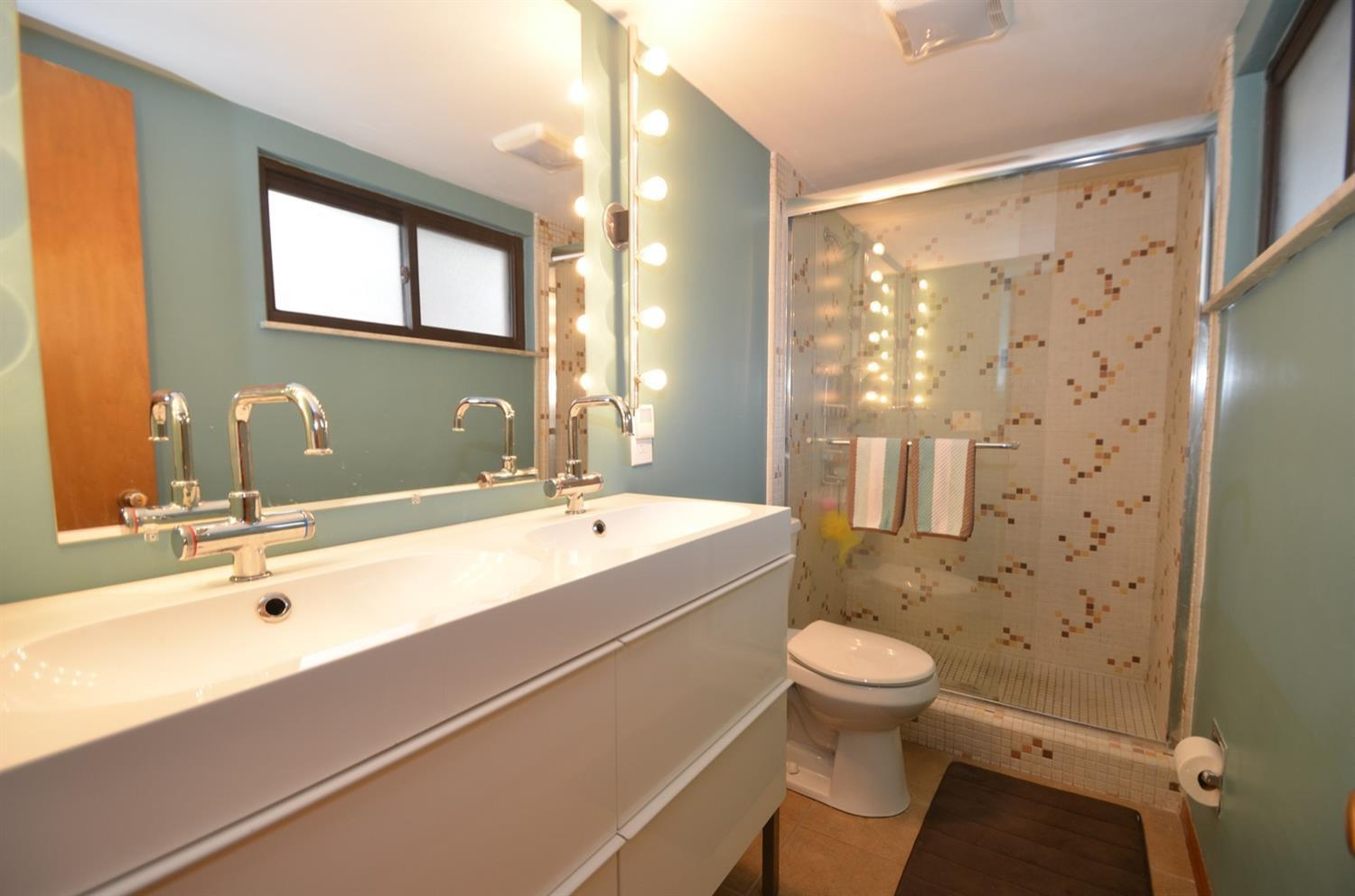 Master bath is a blend of vintage and new.  This double vanity with plenty of storage is a godsend!