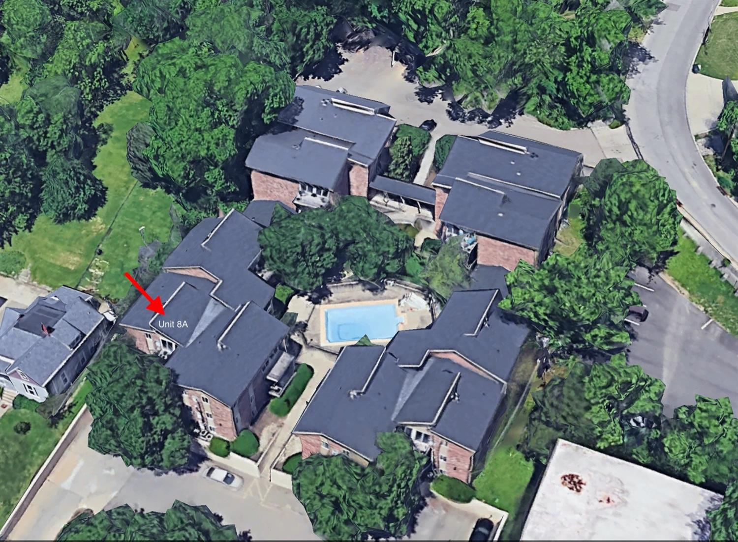 Aerial view of the Alpine Haus Condominiums with the unit noted at the front left.  The parking for the unit is right along the front wall to the left in the spot marked 8A.