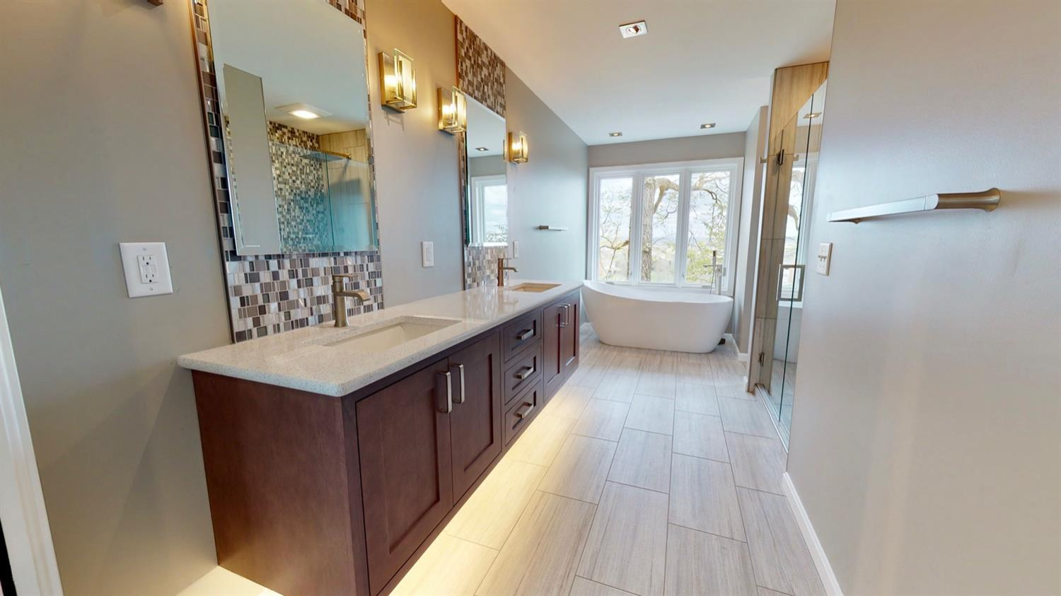 Master bathroom with heated floors and sweeping views