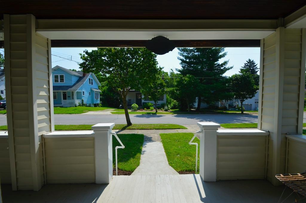 Now let's explore the outside.  This is the view from the front door, looking out through the porch.