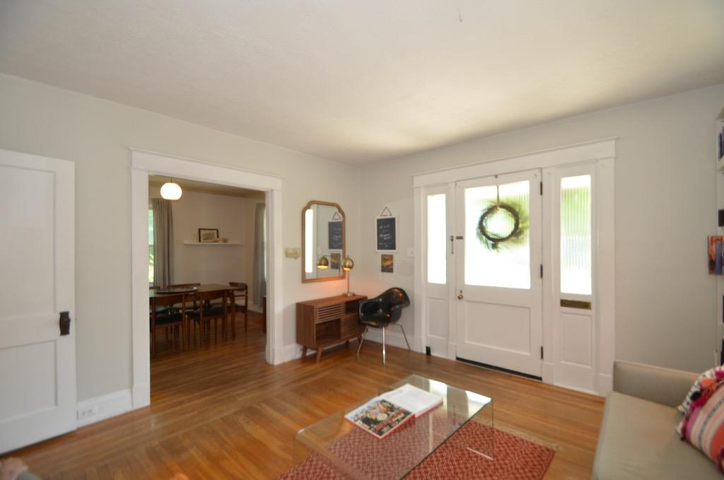 Check out these original hardwood floors with 'picture frame' detail.