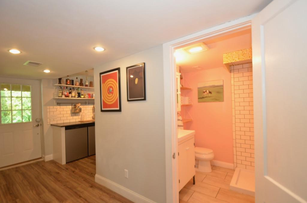 Lower level walkout, kitchenette and bath.