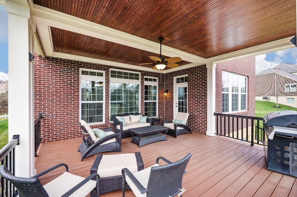 Covered deck with ceiling fan