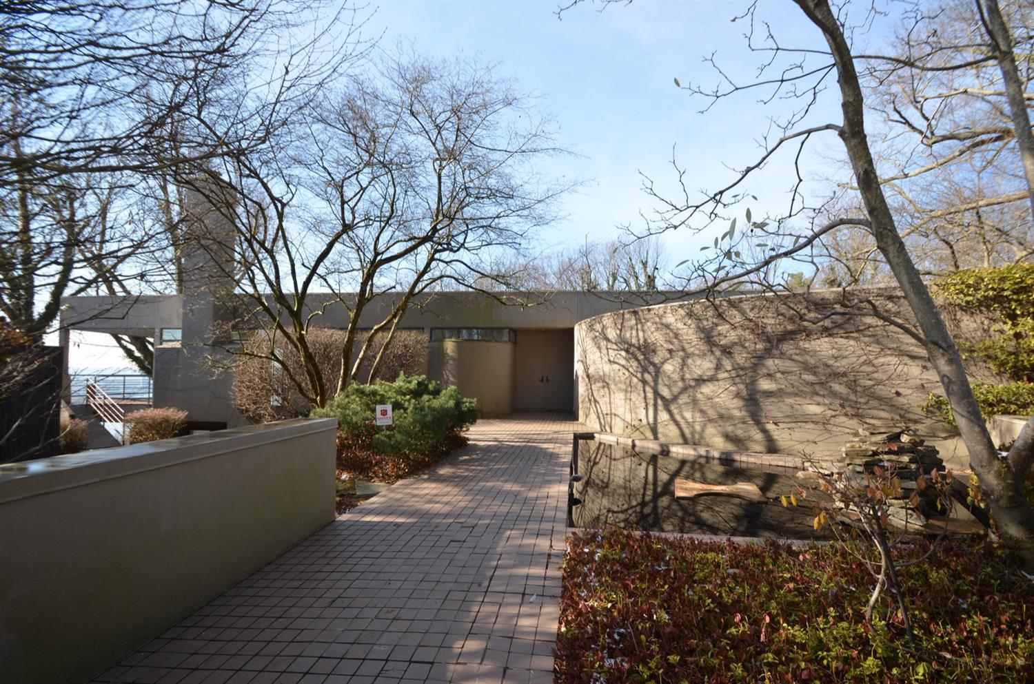 Entry approach and courtyard.