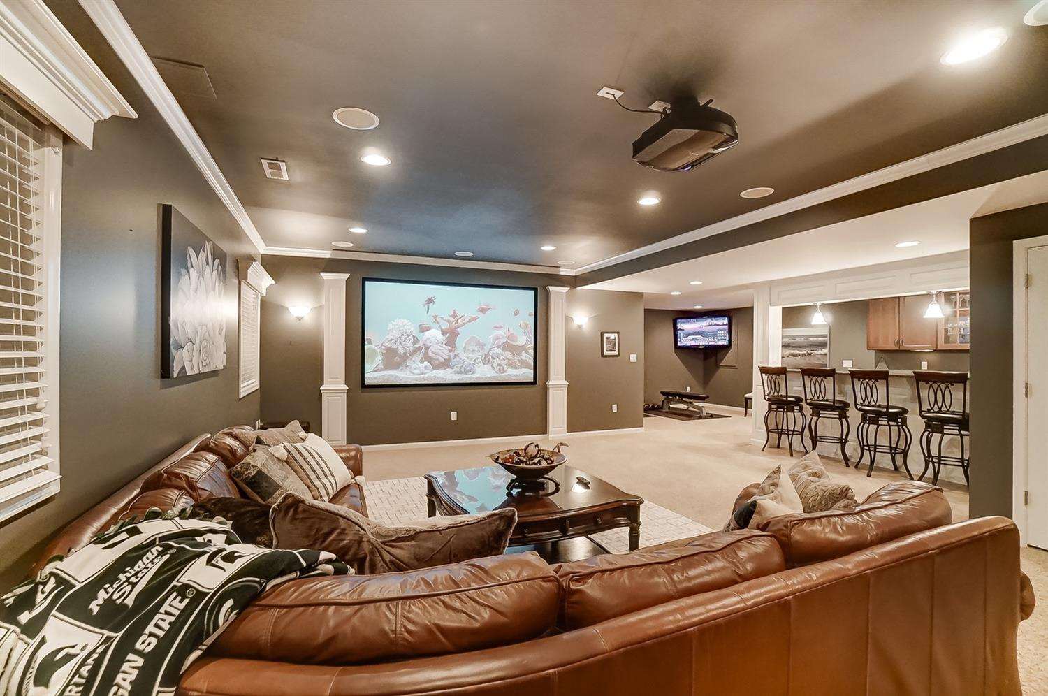 Theater screen stays with the house; projector is negotiable.