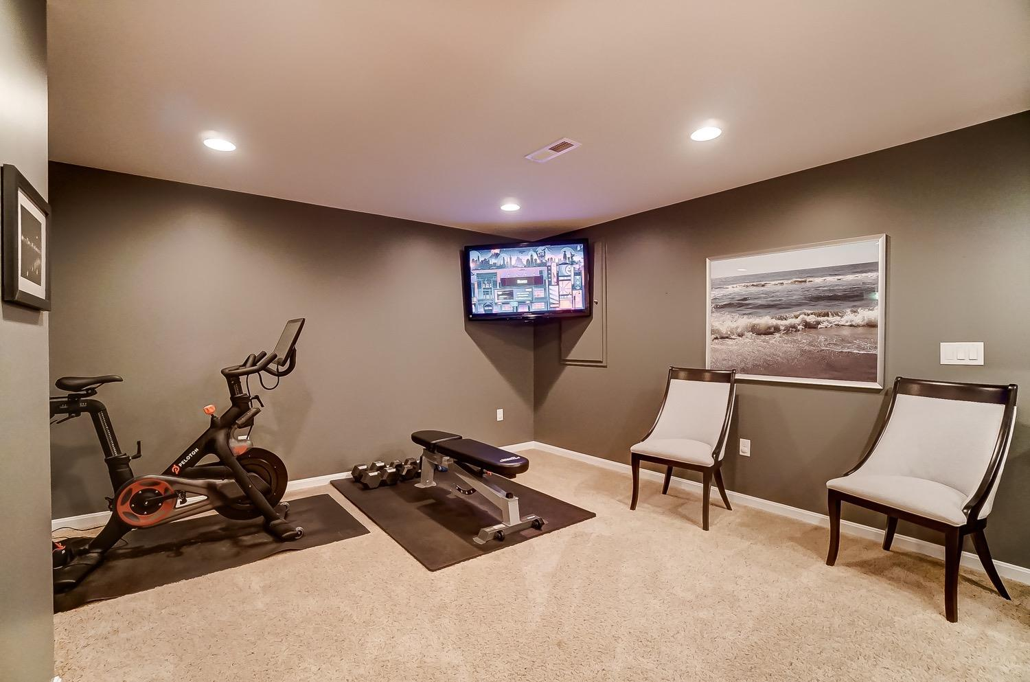 Extra space for exercise area, game table or play area.