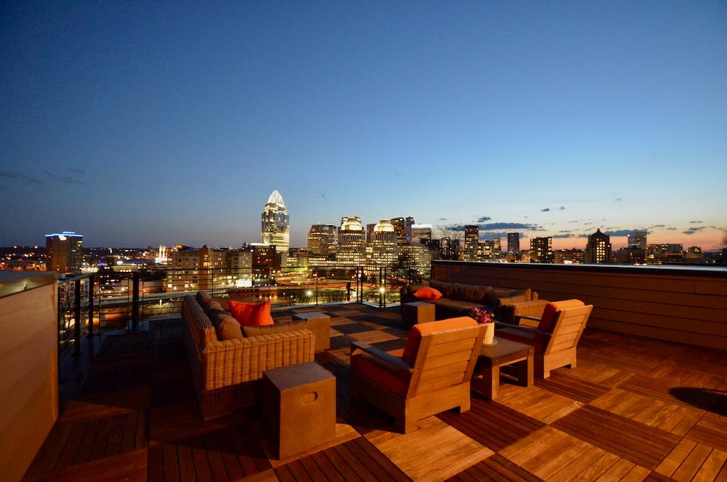 Views for days! From the 1,200 sq ft. rooftop deck (accessible via stairway OR elevator) you can see for miles!  Cincinnati Skyline, sunsets, Reds & riverfront fireworks displays, River, bridges and far off hillsides. The addition of ipe hardwood decking adds a luxurious and durable touch.