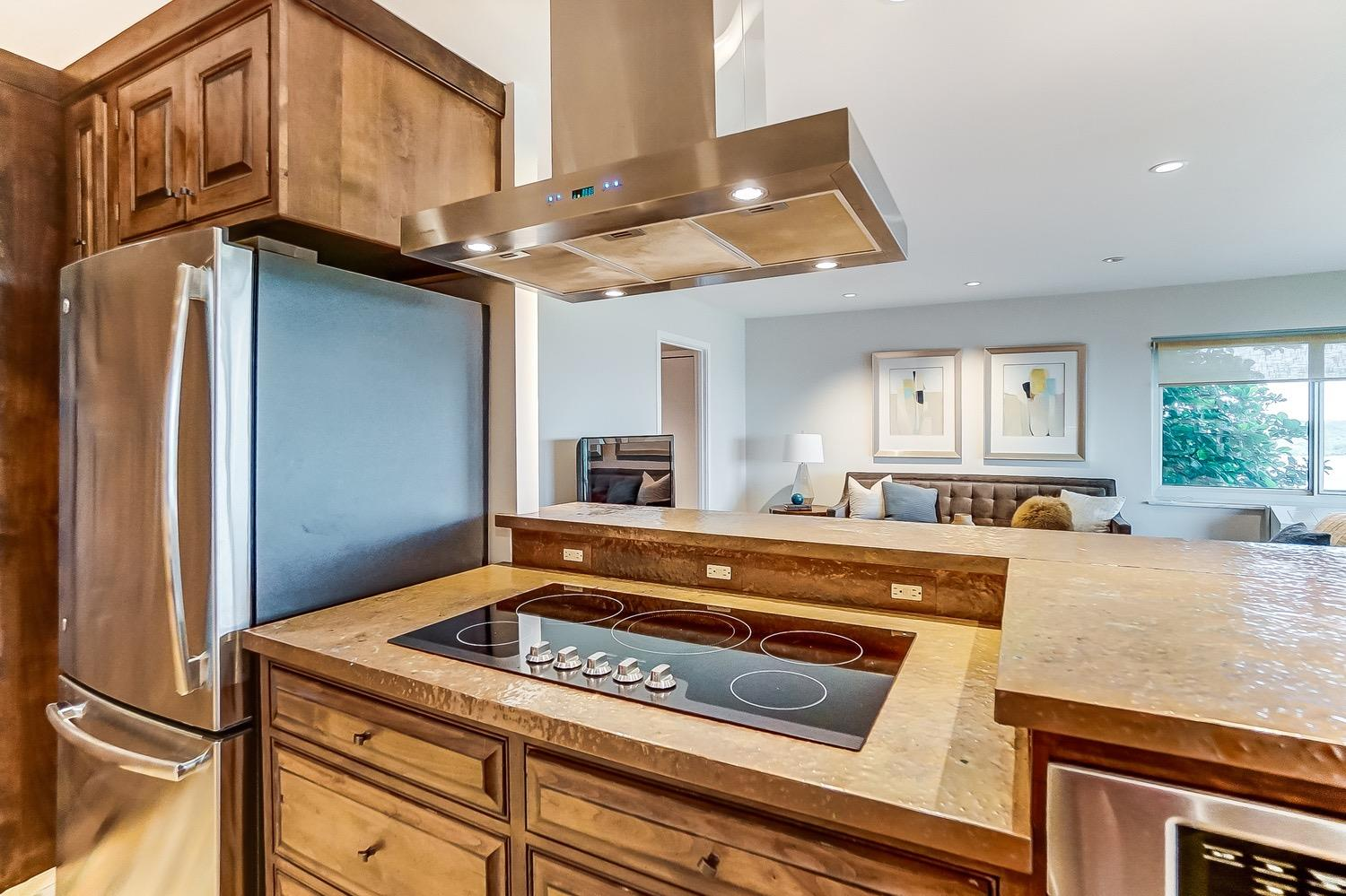 Solid surface cooktop, stainless refrigerator and exhaust fan.