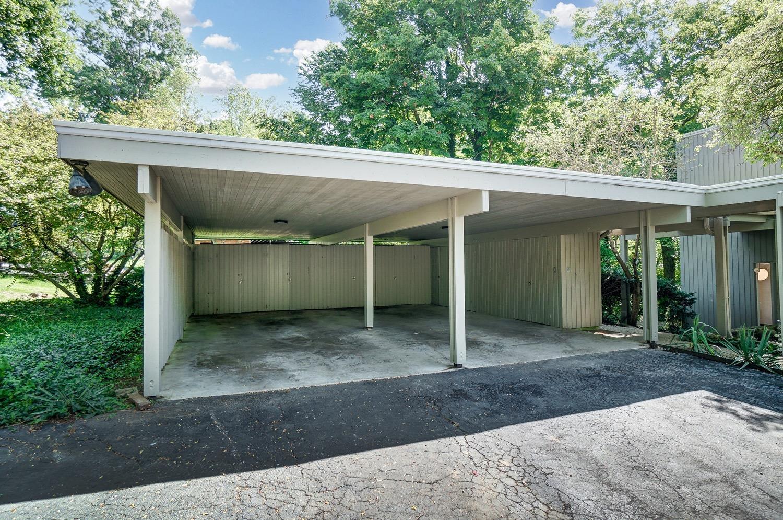 Large storage closets lined the oversized carport.