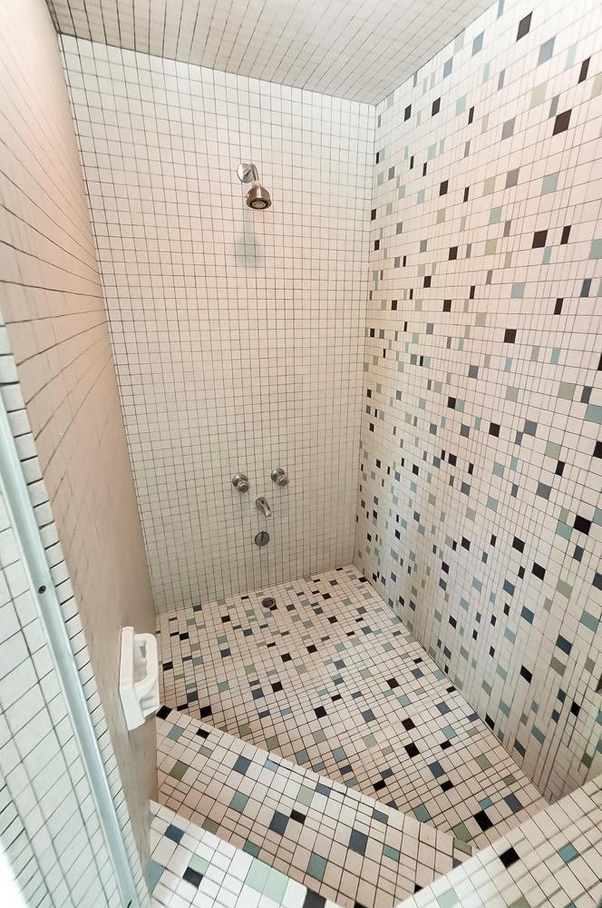 The luxury of a vintage mosaic-tiled step down tub-shower is a favorite of many mid-century modern design lovers.