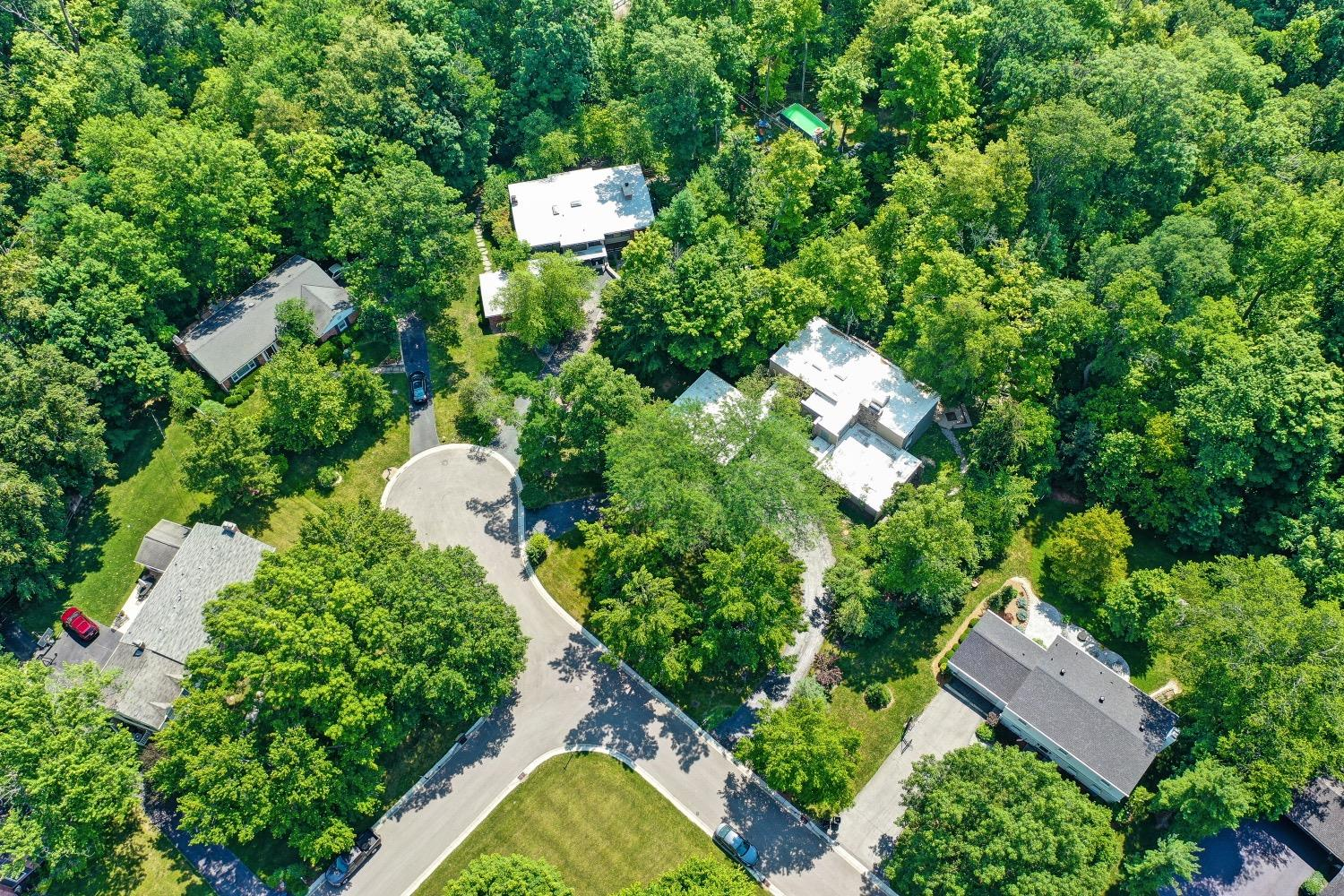 This aerial view shows the verdant wooded setting.