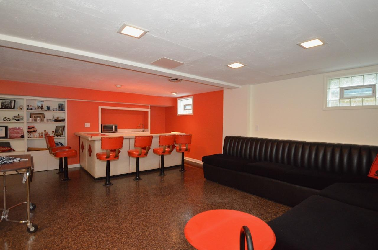 And down another level is the amazing Rumpus Room - Bar - Party Space with built in banquette.