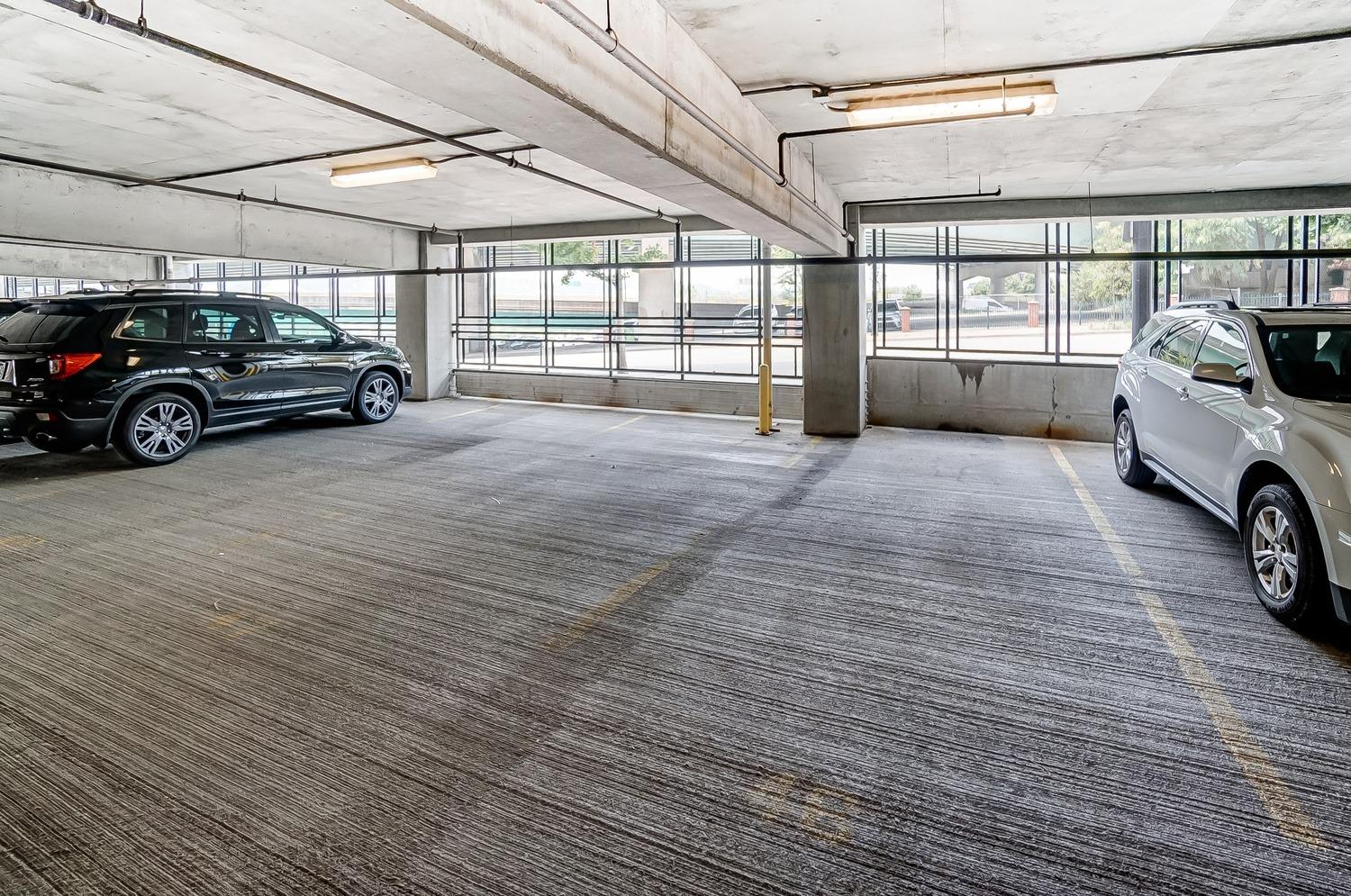 Assigned garage parking. Space #46 (take the elevator to P2)