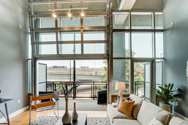 Indoor/outdoor living! Open the garage door to your private balcony.