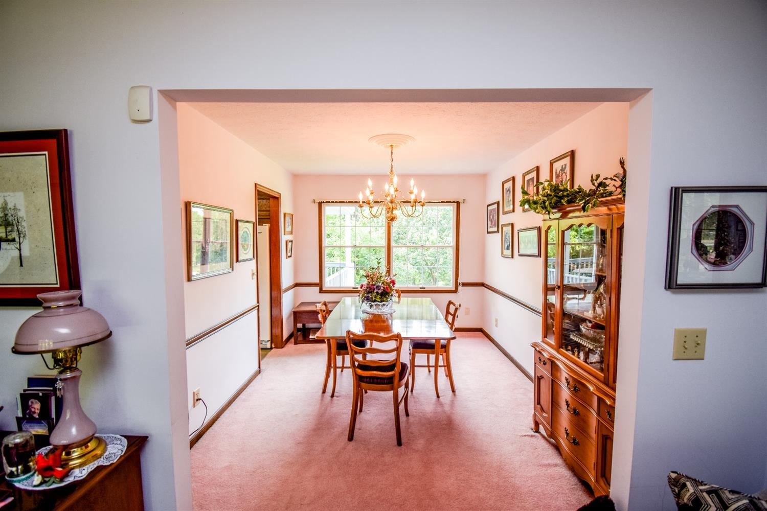 Formal dining room off of kitchen