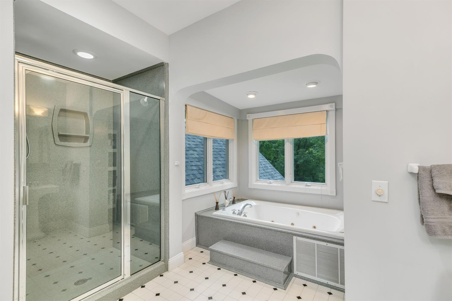 Primary bath with jetted tub and large walk-in shower.