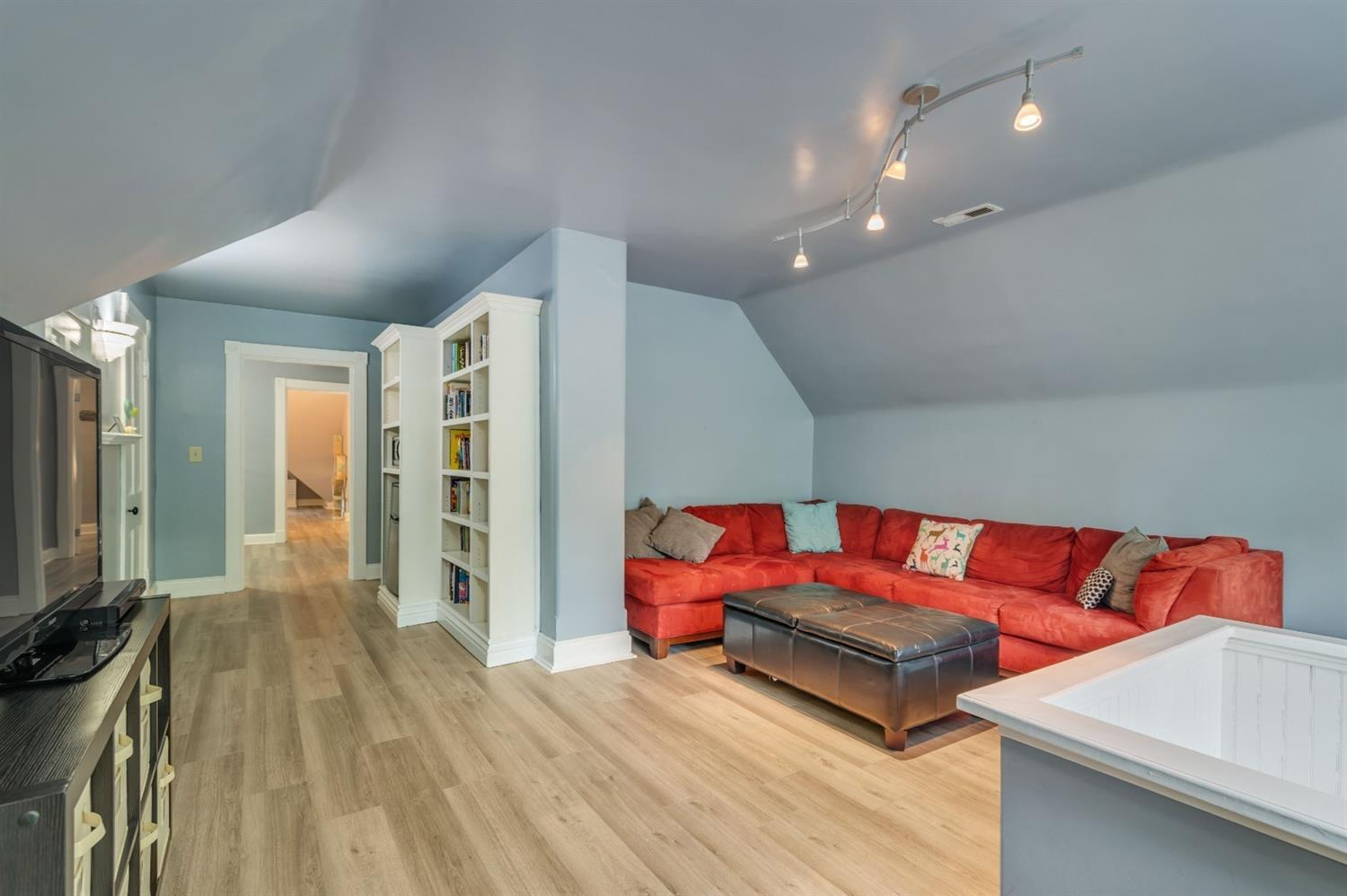 This family room suite includes built in area with minifridge and microwave.