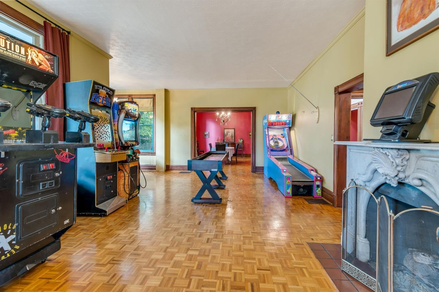 Wow! yes you can have fun in the living room!  This arcade doesn't stay but it sure makes a formal space fun.
