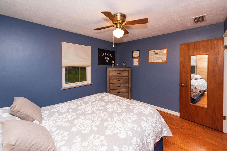 Spacious second bedroom with Pergo flooring.
