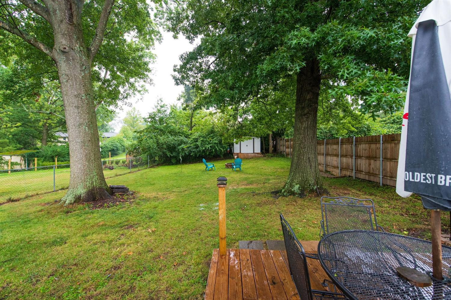 Flat fenced in backyard. Shed. Patio deck.