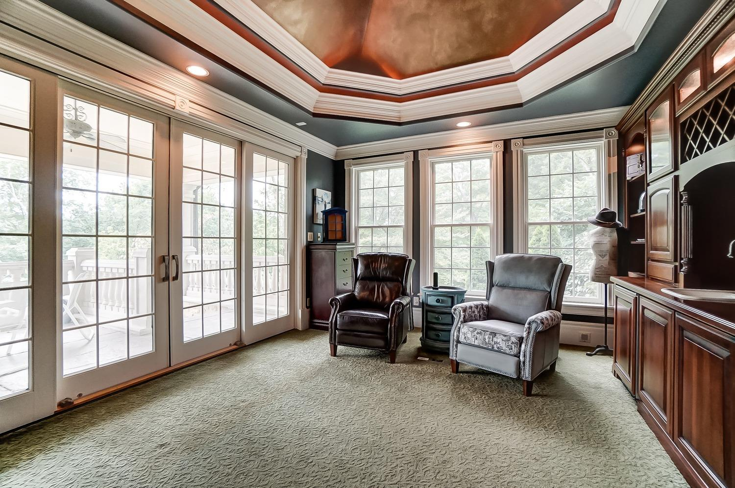 The sitting area which is part of the master suite was originally designed to be