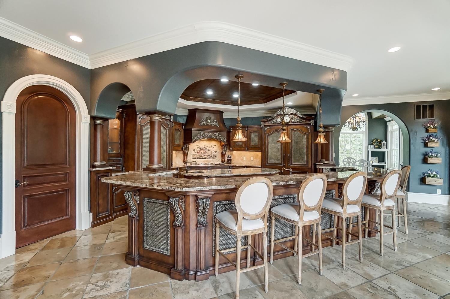 This home features handcrafted European-styled kitchen
