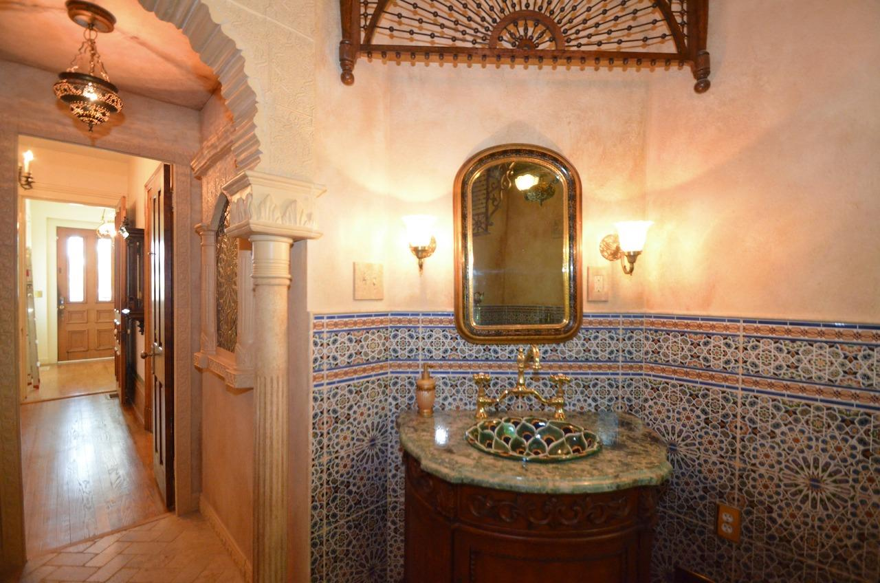 This newer renovation/older style bathroom is a work of art and splendor all to itself.  The plasterwork, tile, stone, marble, woodwork.  You name it, it makes this bathroom by artist Patrick Dougherty the talk of the town!