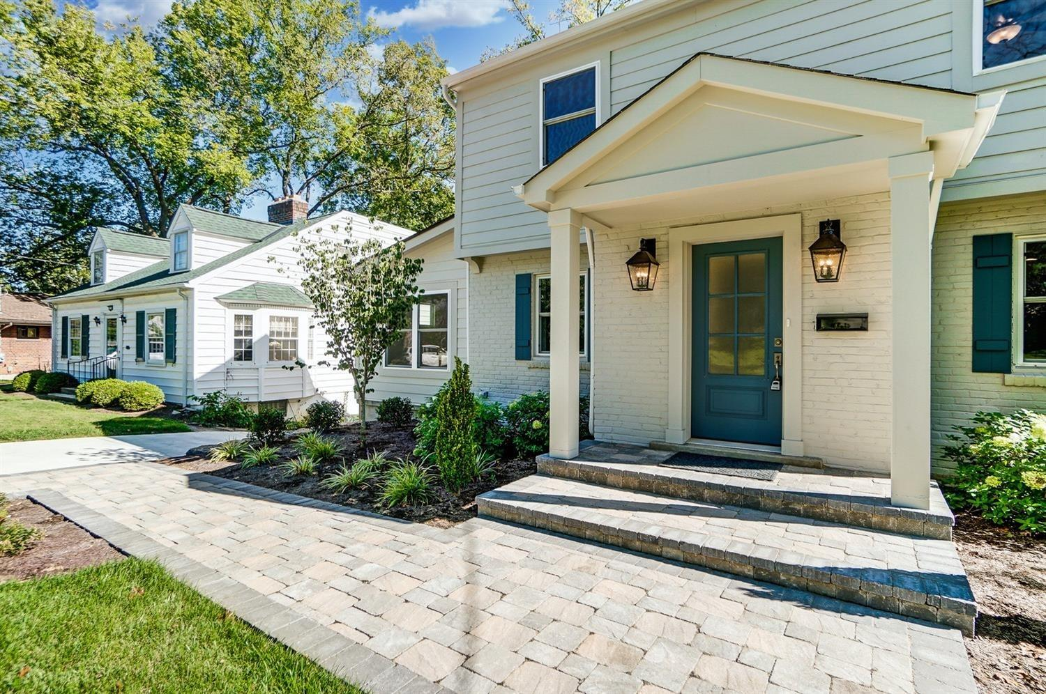 Gorgeous sold stone paver walkway, steps and porch. All new: driveway, pavement, exterior paint, siding, door, Jeld-Wen Low-E windows.