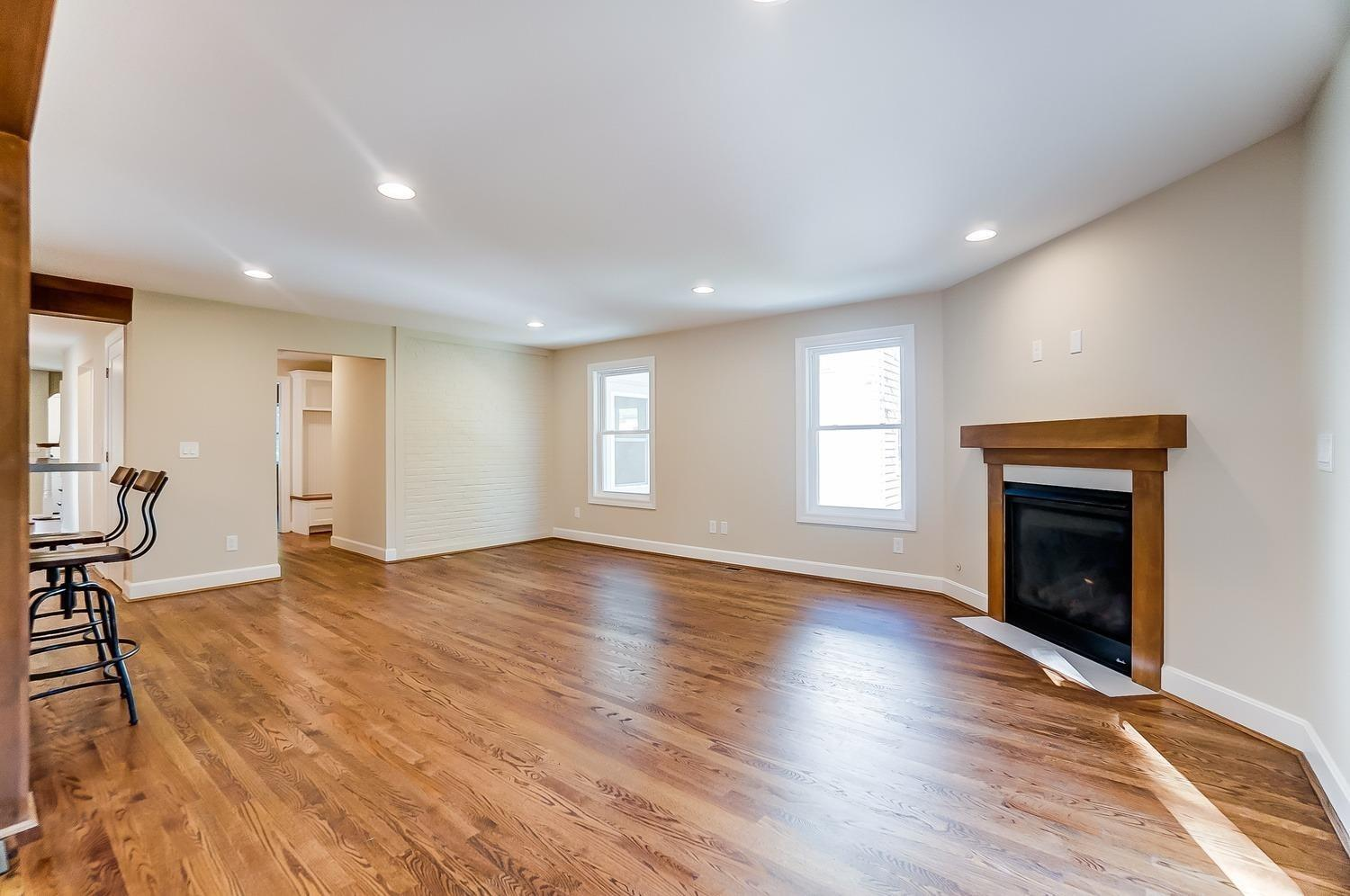 1st floor, family room, alternate view. Brick wall visible and walkway to mudroom visible.