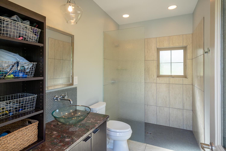 Pool house bathroom/changing room.