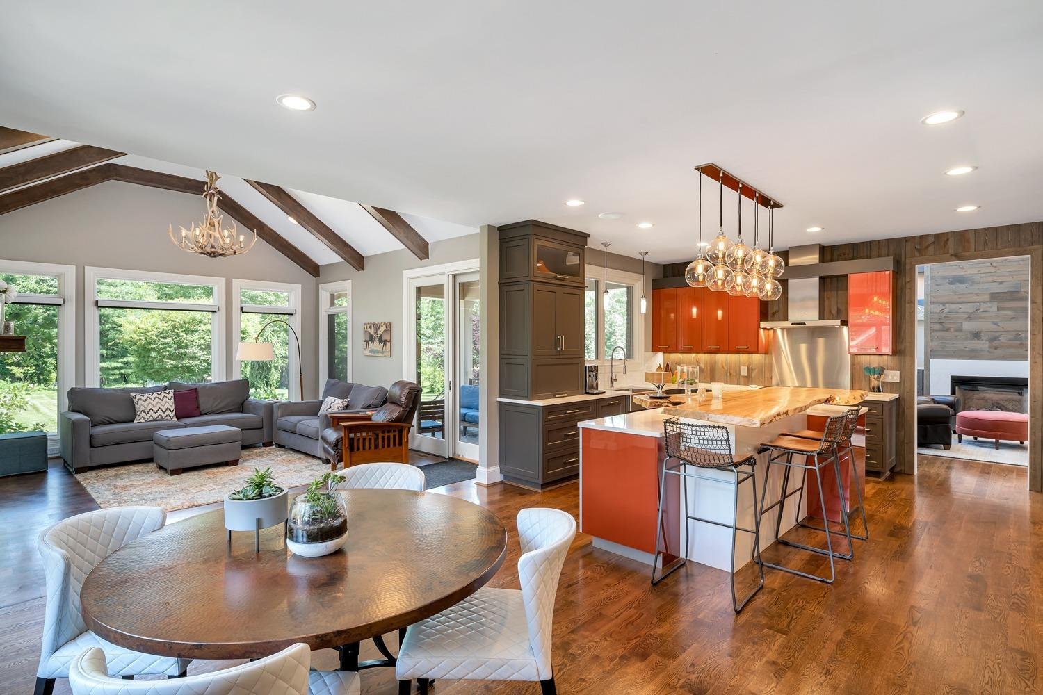 Fantastic view of the kitchen, eat-in area, and hearth room.