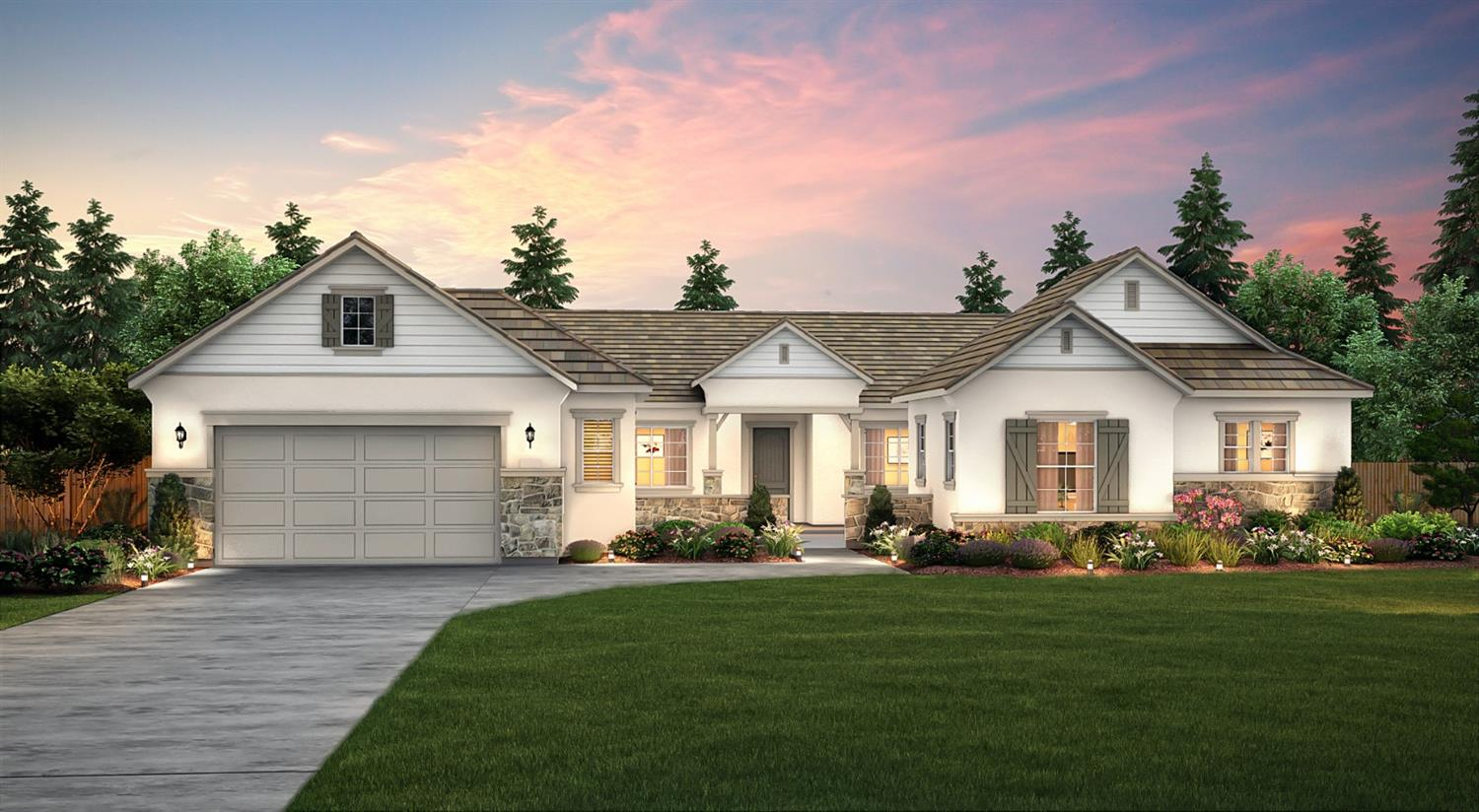 Bella Palma in Kerman.  This beautiful new construction Meadow floor plan offers an open floor plan, with a spacious kitchen featuring granite, maple cabinets in a truffle finish, and Venetian bronze hardware, stainless appliances, a large center island, a walk in pantry, a formal dining room, large great room, and den with French doors.  The spacious master suite offers a large walk in closet, dual sink with granite vanity, soaking tub, and dual showerheads.  The additional 3 bedrooms are generously sized to fit your family's needs.  The large covered patio is perfect for entertaining or relaxing after a long days work.  Don't forget this home offers a 4 car tandem garage!