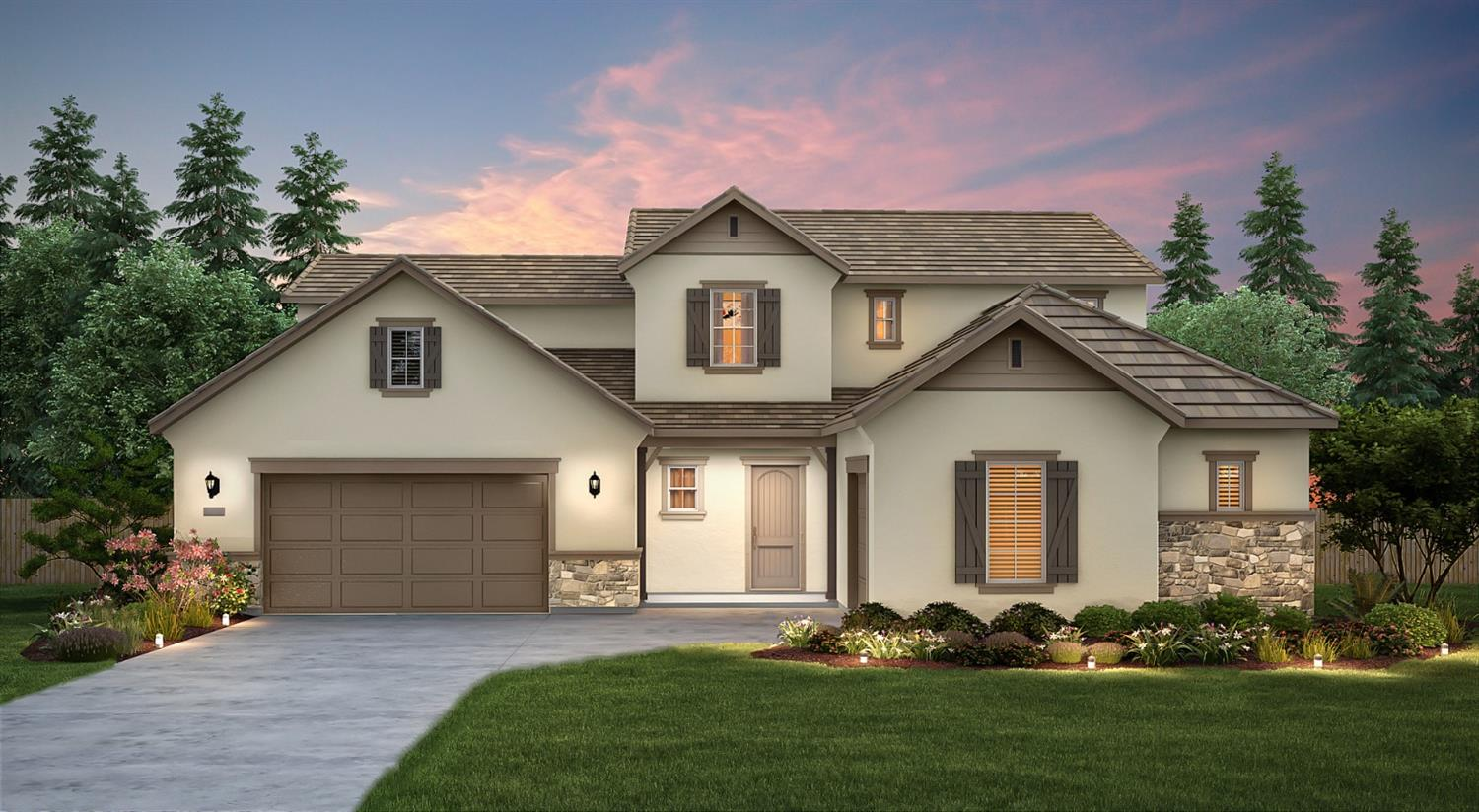 Bella Palma in Kerman.  This beautiful new construction Lexington floor plan offers a spacious kitchen featuring granite, maple cabinets in a truffle finish, stainless appliances, center island, pantry, formal dining room, large great room, and den.  The spacious master suite is downstairs and offers his and hers walk in closets, dual sinks with granite vanity, soaking tub, and large walk in shower. Upstairs offers 4 bedrooms and a loft; 2 bedrooms share a Jack and Jill bathroom, and 1 bedroom is a suite. The loft is perfect for an extra study or game area.  The large covered patio is perfect for entertaining or relaxing after a long days work.