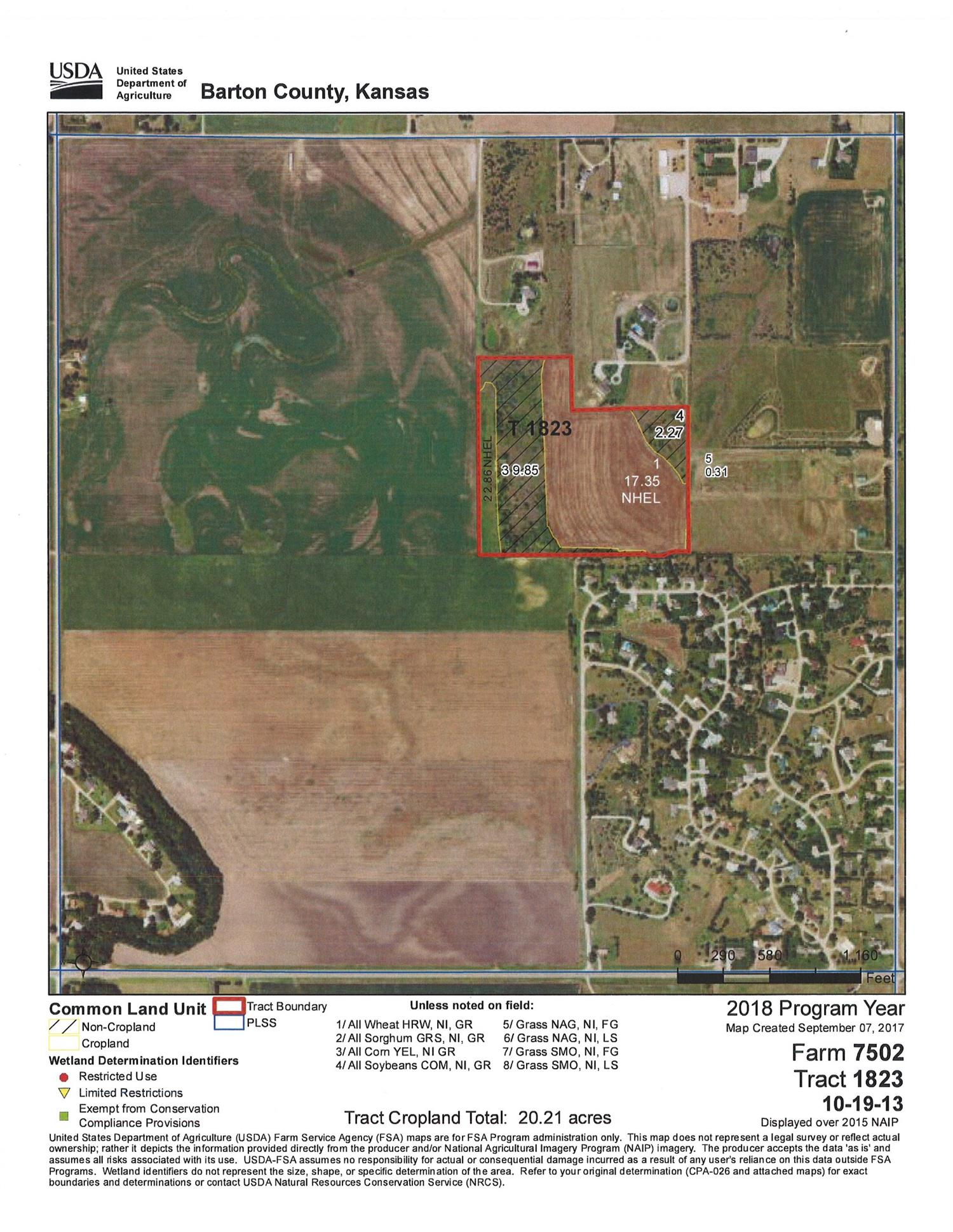 Perfect location for a new home site or hide away close to town.  A 35+/- acre tract of land just North of Bissells Point plus one lot in Bissells Point.  The tract consists of 20.21+/- acres of cultivated land.  12.12+/- acre of expired CRP and trees, with balance in roads.  350 Point Drive, Great Bend - Lot Dimensions 150' x 219.4' with water hookup.