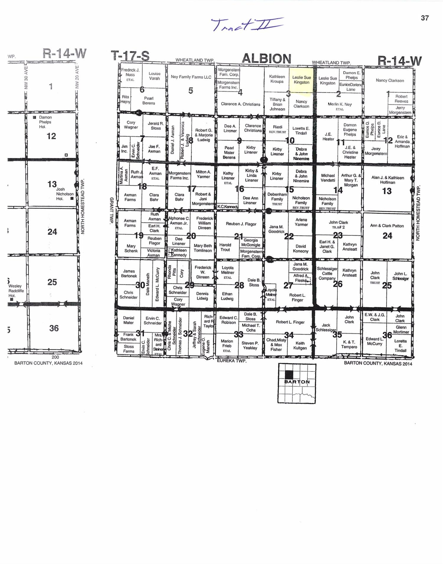 Good terraced farmland with highway frontage.  Total Acres 157.56 +/- , Cropland 147.49 +/- acres, Waterways 10.07 +/- acres.  Land is selling with surface rights only.  Oil production and mineral rights are reserved.