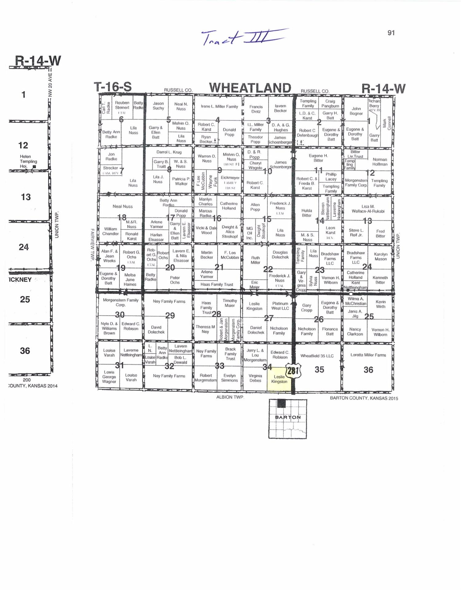 Good terraced farmland and pasture with highway frontage.  Pasture has spring feed pond and good barbed wire fence.  Total acres 158.06 +/-, Cropland 100.97 +/- acres, Pasture 52.03 +/- acres.  Land is selling with surface rights only.  Oil production and minerals rights are reserved.