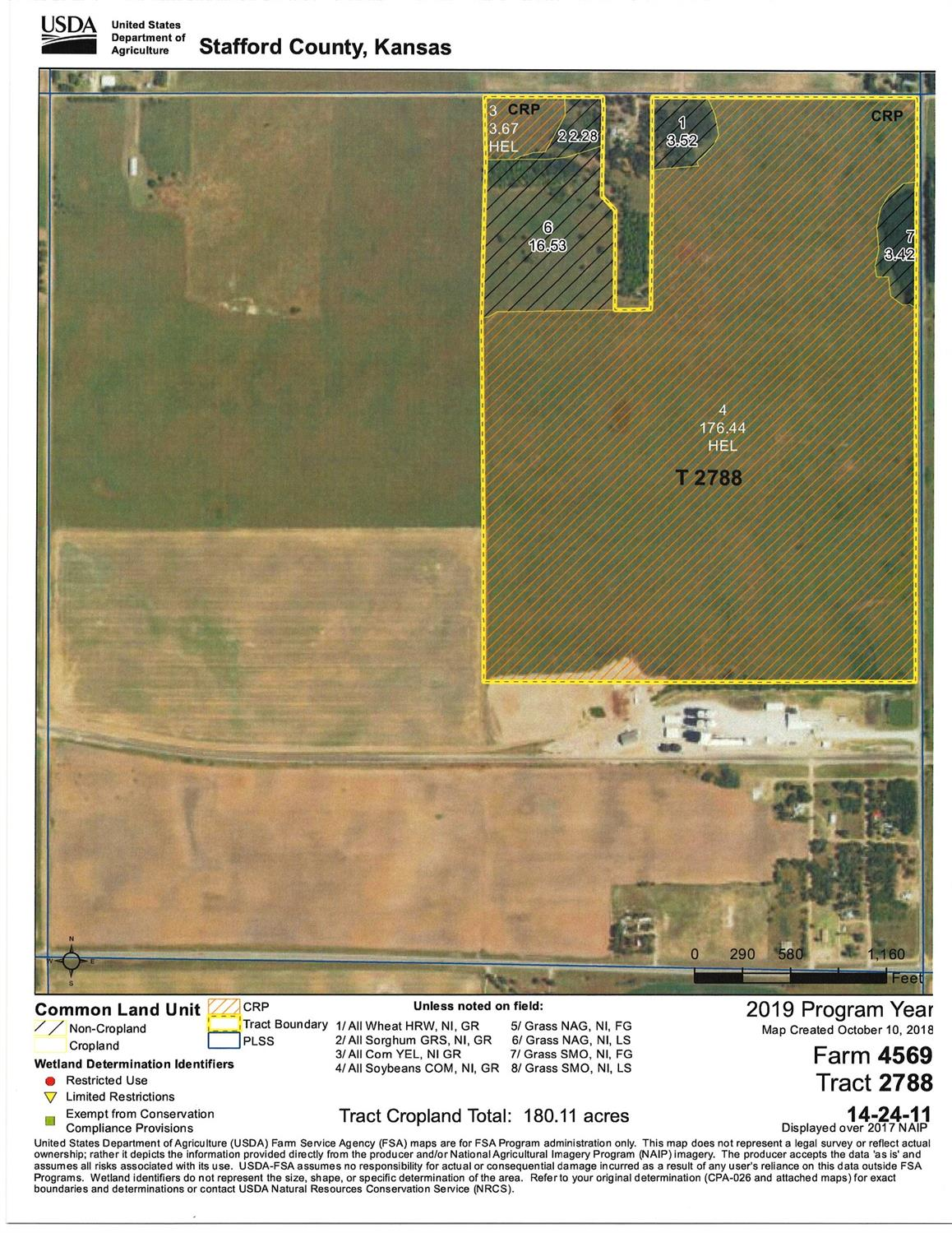 Good CRP tract next to blacktop. 205.86 total acres, 180.11 enrolled in CRP, balance of 25.75 +/- acres in pasture grass, trees & waste.  Annual CRP payment is $8,879.00 and CRP contract expires 09/30/2022. Mineral rights are intact and sell with land.  Mineral rights are believed to be all intact but not represented as such.  There is no production on the land currently but the mineral rights are in the Zenith-Peace Creek Water Flood Project.  Oil Income is stated as follows:  2014-$4,628.68, 2015-$1,722.28, 2016-$1,409.52, 2017-$2,530.36, 2018-$895.72 & 2019-$1,454.60(as of May)