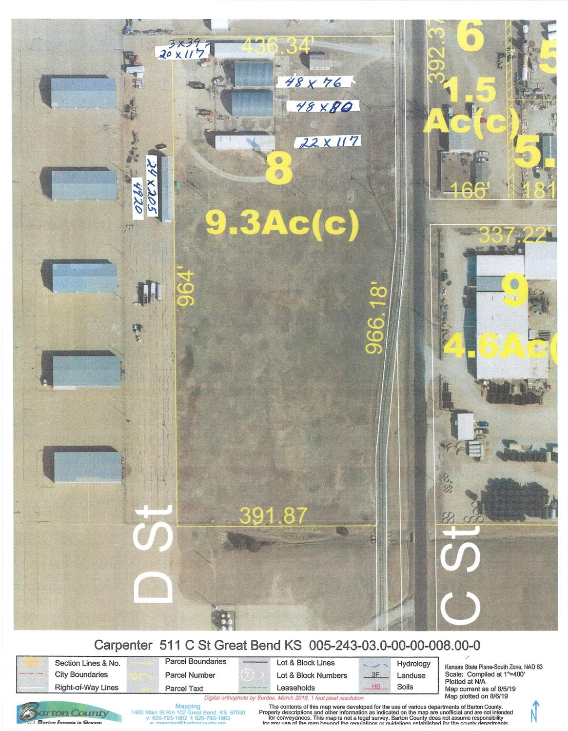 Revised listing with buildings and approximately 9.3+/- East side of Airplane Hangers at Great Bend Airport. Plenty of room to develop and or put new hangers.