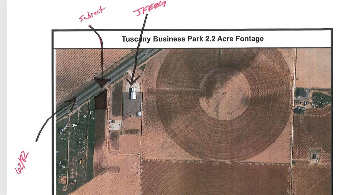 Tract A of Tuscany Business Park - 2.22 acres  with 300 foot of Frontage along 62/82 (Lubbock Highway). Property is 1/2 a mile from FM 1585 (The Future Outer Loop) next to JFerg Pros. All other lots in Tuscany have sold! This is only lot remaining! Roads are paved with curbs and gutters. High Speed Internet available. High traffic count.
