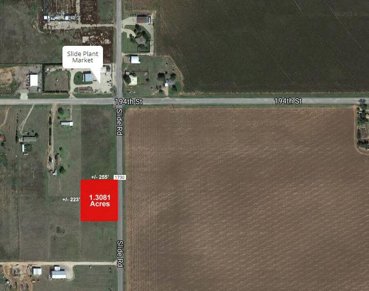 Just over 1.3 acres located in Southwest Lubbock. The property has frontage on the West side of Slide Road and is just South of the intersection of FM 41 and Slide Road.    +/- 223 Feet of Frontage on Slide Road by +/- 255 Feet Deep;  Southwest Lubbock Location
