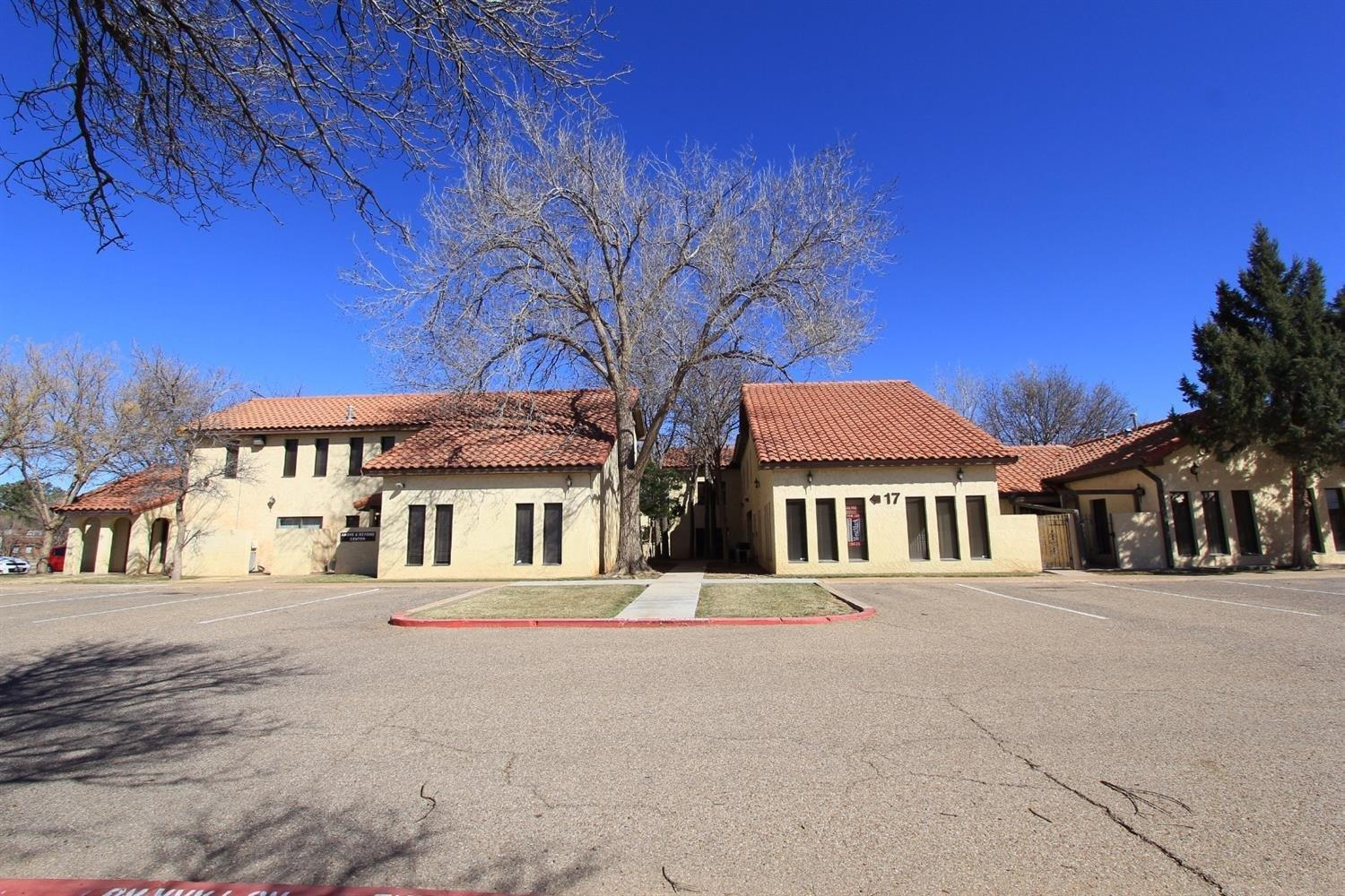8008 Slide Road #17 is a 1,069 sf office located in Benchmark Office Park.  It is located in the heart of SW Lubbock at the corner of Slide Road and 82nd Street.  Unit #17 is a two story office space with two offices upstairs, an open concept reception area, coffee bar, 1/2 bath and one oversized office downstairs.