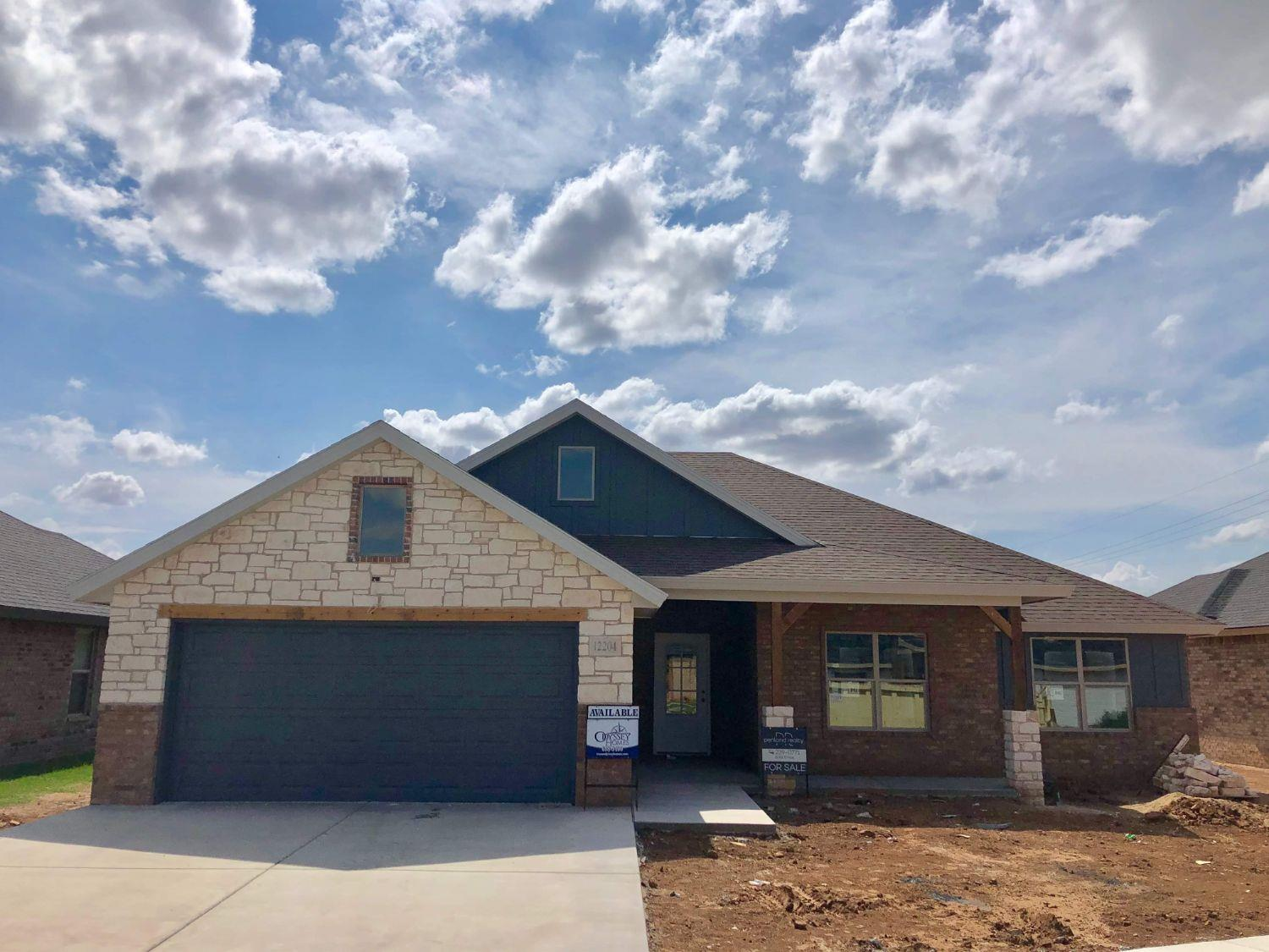 Beautiful New Home Built by Odyssey Homes in Lubbock - Cooper ISD on a quiet cul-de-sac street.  This home boasts an open concept floor plan with a large family room that features a vaulted ceiling. The family opens into the kitchen which has a center island with seating that provides a great place for additional guests.  There is also a bonus room that has tons of natural light and could be used for many different purposes.  The large master suite has a vaulted ceiling and includes separate vanities and a garden tub along with a large walk-in closet. Sod, sprinkler system, 6' fence with steel posts included. Completion in August!